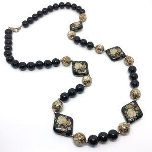 "🆕32"" Vintage Black & Silver Floral Bead Necklace"